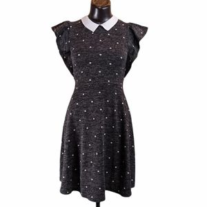 Monteau Skater Dress with Collar Ruffle Sleeve Sm